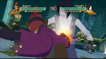 Rōshi cubre su mano con lava en el estómago de su oponente...