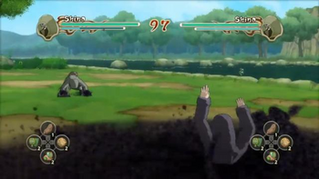 Shino encierra a su oponente...