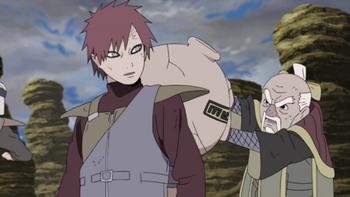 Onoki utiliza el jutsu sobre la arena de Gaara...