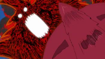 Primero Chōji arroya al enemigo...