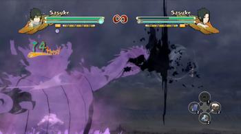 ...por último, Sasuke le da a su oponente otro golpe con su espada.