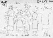 Arte Pierrot - Tsunade, Naruto e Shizune com roupões das Thermas