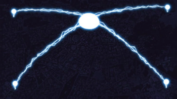 Four streams of lightning connect to each other…