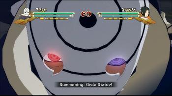 ...luego golpea el suelo para invocar la Estatua Gedō ...