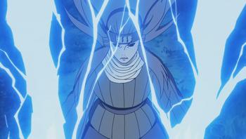 Ameyuri libera una descarga eléctrica hacia el cielo...