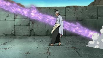 When Danzō is hit by Sasuke's Susanoo arrow…