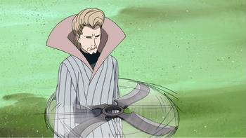 …przez którą Drugi Mizukage rzuca swoje genjutsu.