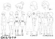 Arte Pierrot - Homura, Koharu, Torifu e Hiruzen crianças