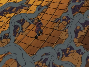 Hashirama causing trees to grow on top of a roof…