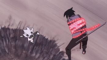 Sasuke focuses on a target…