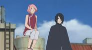 Sasuke e Sakura observam o Time Konohamaru