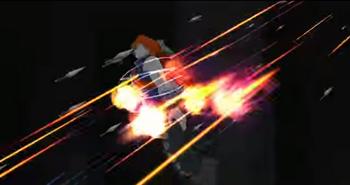 ...le lanza varios kunai....