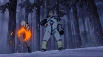 ...cuando estos se han dispersado los detona con un último kunai...
