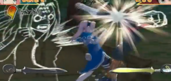 Sakura le impacta una gran cantidad de golpes al enemigo...