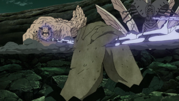Gaara using sand to perform the technique.