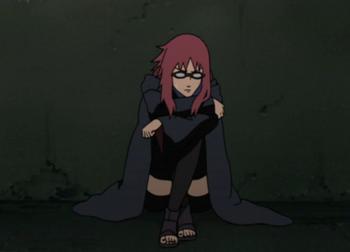 Karin suppressing her chakra.