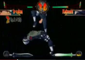 Una vez estando en el aire, el usuario golpea al oponente de manera descendente...