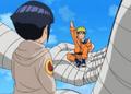 Hinata and Naruto in Choji's hands