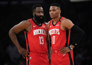 James Harden with Russell Westbrook