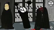 Palpatine con el Pinchimono y el cadaver de Darth Vader