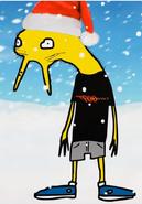 Dorrolfo Zongález con gorro de navidad