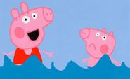 Poppa y Jorge nadando
