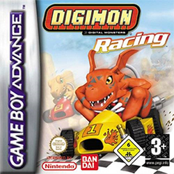"""Three stylized creatures race in comically small go-karts on a sandy, foggy race track. A dark orange dinosaur whose ears resemble a bat's wings crosses the finish line in a yellow kart. His two opponents are a lighter orange, more generic-looking dinosaur and a blue lizard. They occupy second and third place respectively, but appear intent on winning. Above the scene is the science fiction-inspired text """"Digimon Racing""""."""