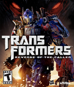 """A battle-damaged Optimus Prime faces the camera's view. The words """"Transformers: Revenge of the Fallen"""" are embossed on the center of the cover. Sparks are seen in the lower background. An ESRB rating of """"T"""" sits in the lower left corner, with the Hasbro and Activision logos in the lower right."""