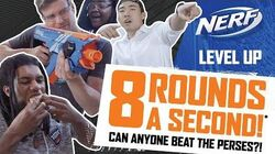 Five Challengers Take on the Fastest Blasting NERF Rival System! NERF Level Up Ep. 2