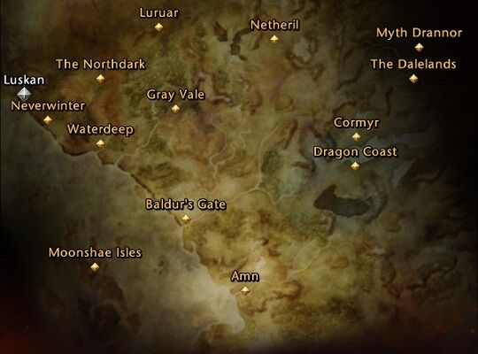 A Faerûn map with the possible character's origin