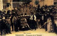 Tarasque festival, 1905 hand-coloured postcard