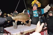 A stuffed fish is dropped in Prairie Du Chen, Wisconsin