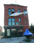 A giant sardine is dropped in Eastport, Maine