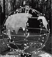 A giant globe is dropped in Fredericksburg, Virginia