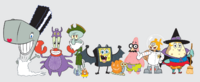 SpongeBob SquarePants Halloween Costume Cast Scaredy Pants Patrick Star Sandy Cheeks Squidward Tentacles Mr. Krabs Sheldon Plankton Mrs. Puff Pearl Krabs Character Image Nickelodeon