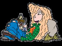 Debbie reading Teenage Wasteland