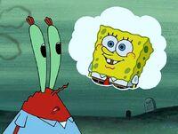 SpongeBob in Mr. Krabs' thought balloon