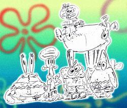 SpongeBob SquarePants characters, original cast sketch by Stephen Hillenburg.jpg