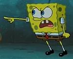 Spongebob points at him