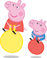 Peppa and George bouncing on balls