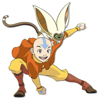 Aang with Momo