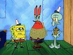 SpongeBob and Squidward interrogate Krabs