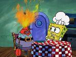 Robo-Krabs on fire