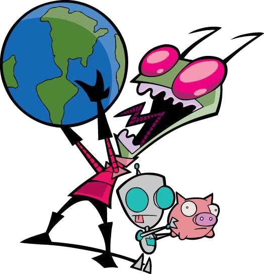 Invader Zim holding the Earth up while GIR holds a piggy