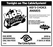 1992 CableSystem Kid's Choice Awards ad