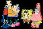 Barnacle Boy, Mermaid Man, SpongeBob, and Patrick stock art