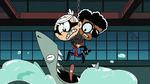 A sharks tries to devour Lincoln and Clyde as hero duos