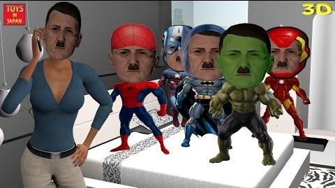 5 Little HITLER SUPERHEROES Jumping On The Bed & MORE Nursery Rhymes for Children 3D Animation