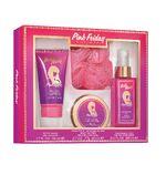 Pink Friday Gift Set Fragrance Mist, Body Wash, Body Butter, Mesh Pouf