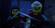 Time Twins holding swords